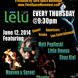June 12, 2014 – Charlie Performs the Weekly Thursday Variety Hour at Lelu Cafe in Northport MI – Presented by Third Space Movement