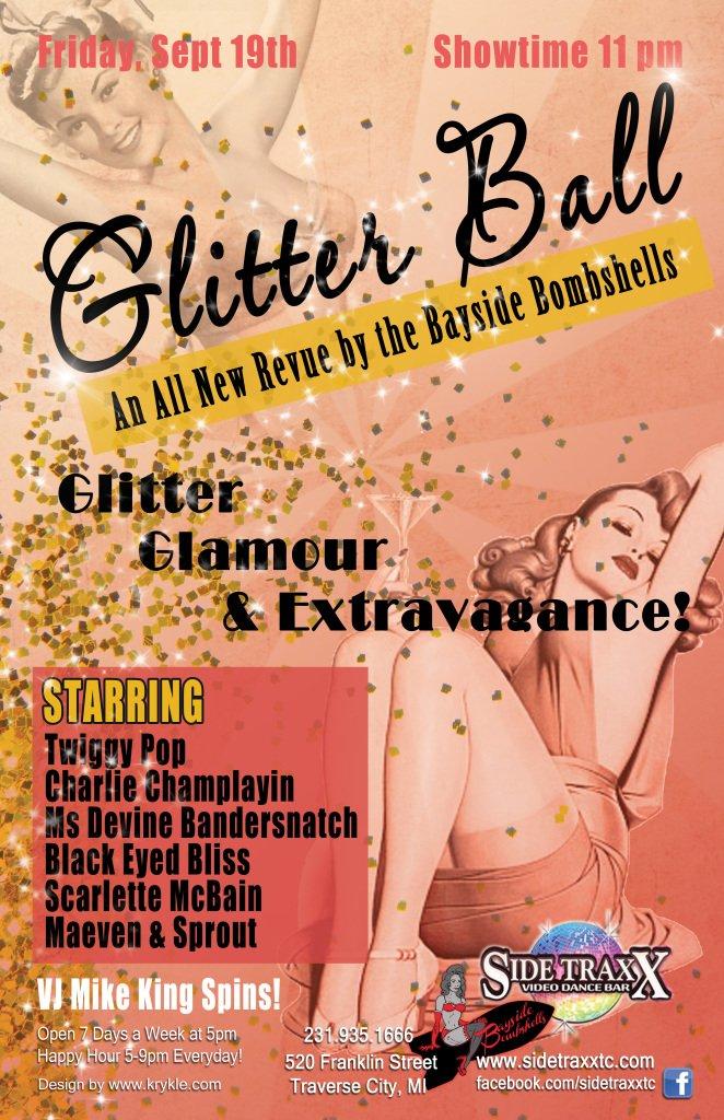WEB Glitter Ball - Bayside Bombshells Burlesque - Friday September 19 2014 - Sidetraxx bar - Design by Krykle