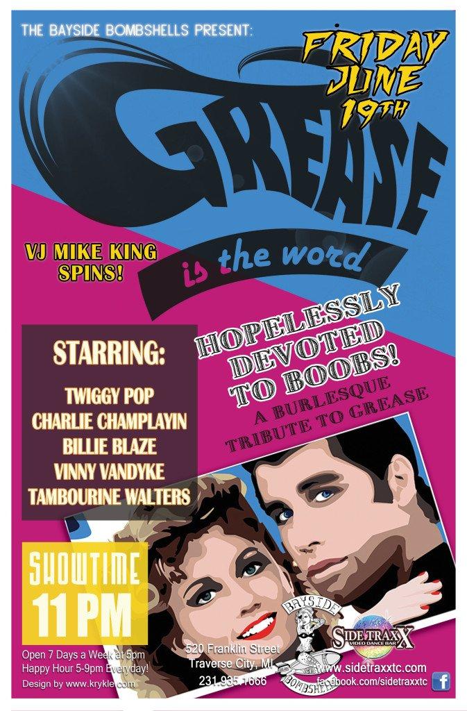 WEB Grease Bayside Bombshells Burlesque - June 19 2015 Friday - Design by Krykle LLC - SideTraxx Bar