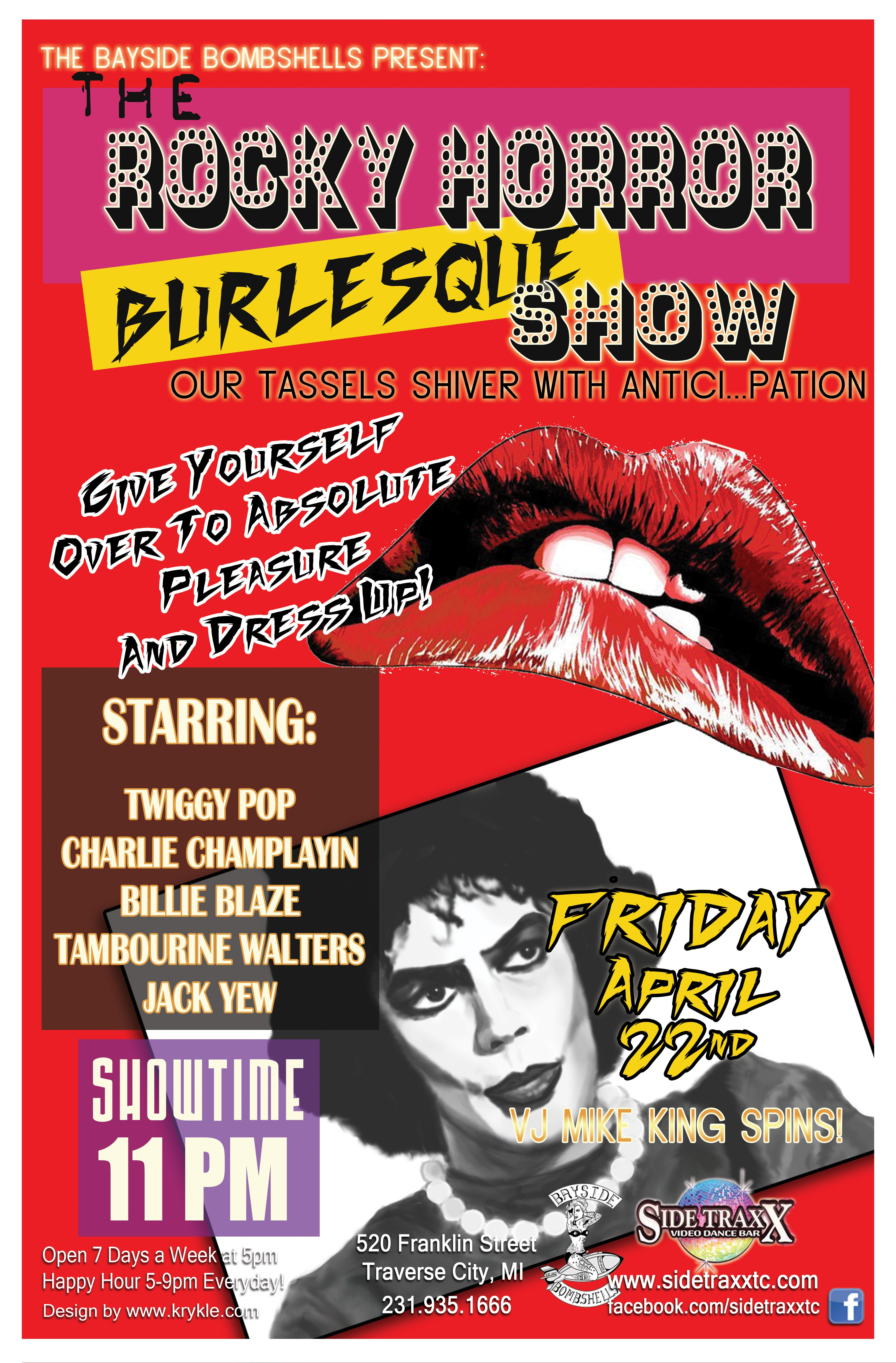 Friday - April 22nd 2016 - Rocky Horror Burlesque - Presented by the Bayside Bombshells